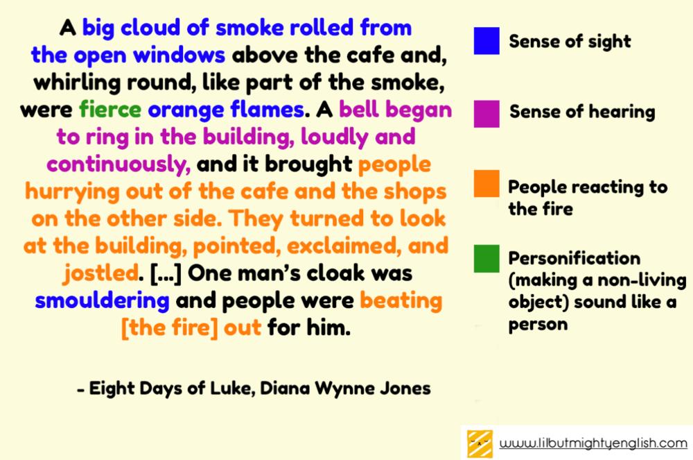 Describing a scene using the five senses