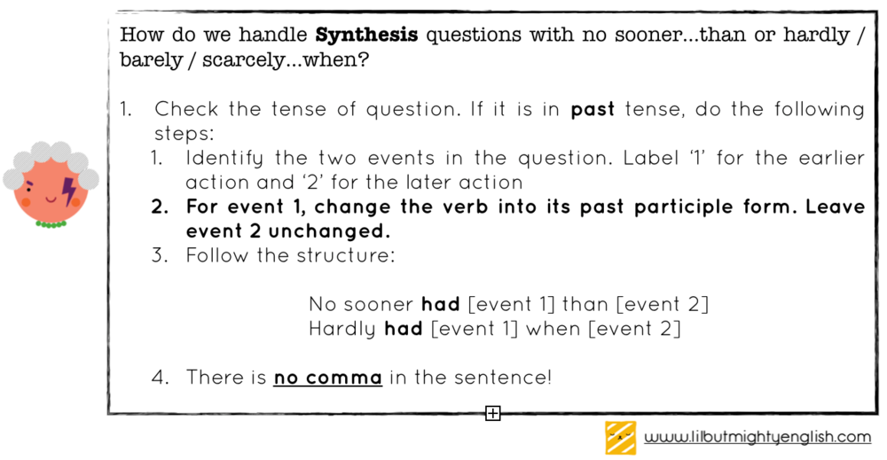 Sentence synthesis questions with no sooner had