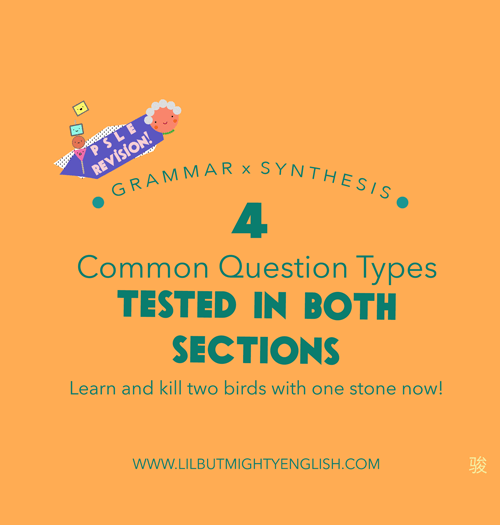 4 common question types tested in Sentence Synthesis and Grammar