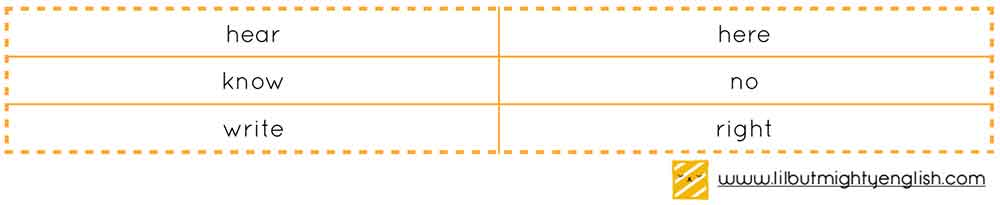 Primary School Vocabulary | Homophone Table