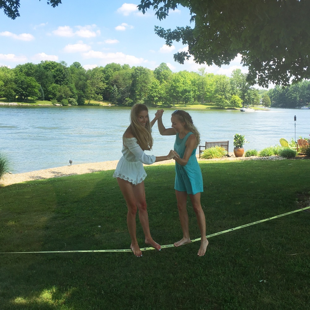 Hope and I found out we really suck at Slackline. 😂 // Romper previously seen here