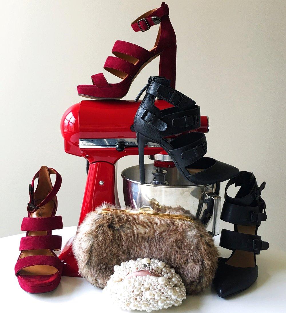 Let the holiday baking begin! 😄 // Coach Heels, Joe's Jeans Heels, Santi Clutch, KitchenAid Mixer