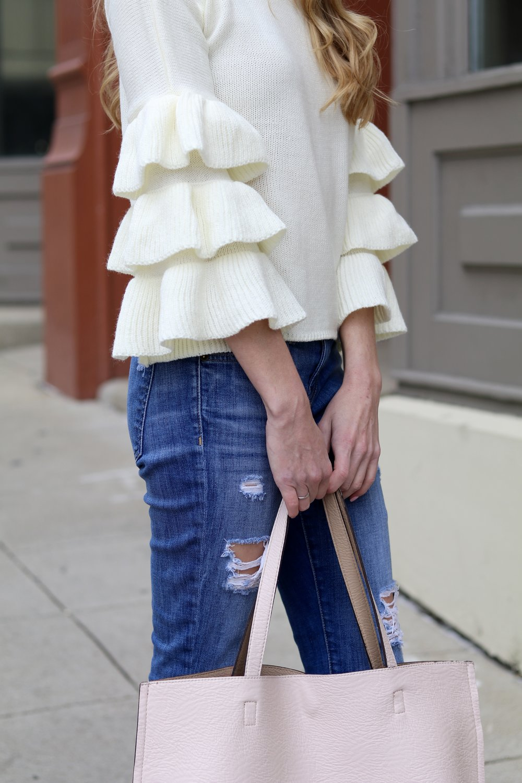 gilt edge   bell sleeve sweater