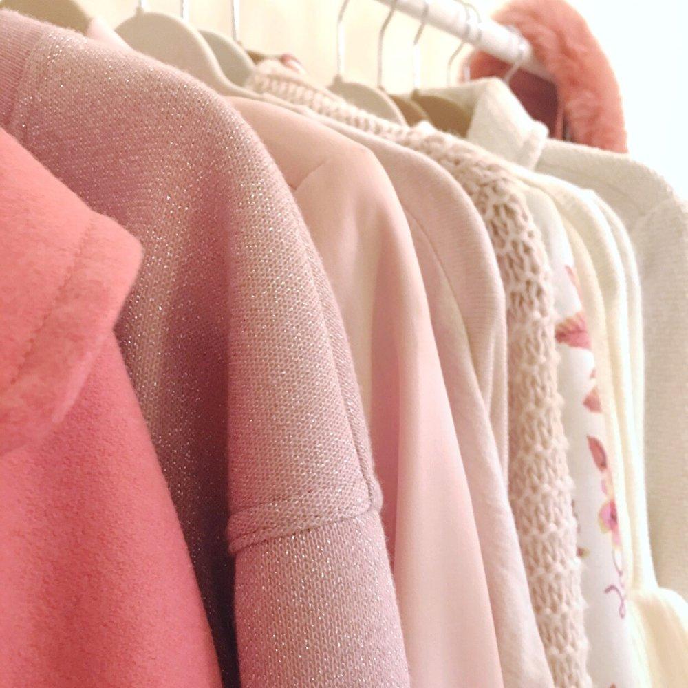 L to R: Tulle Coat, Topshop Sweatshirt, Zara Blazer, Topshop Cardigan, Zara Sweater, LC Lauren Conrad Blazer, SheIn Sweater ℅, Tulle Coat, Anthropologie Scarf