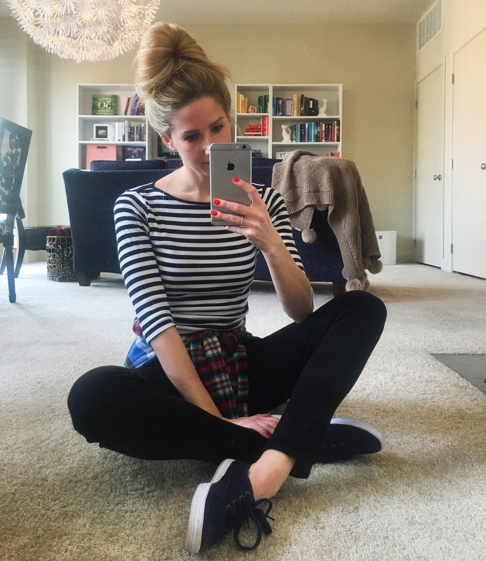 Zara Striped T-Shirt, Urban Outfitters Flannel, Levi's Jeans, Keds Shoes