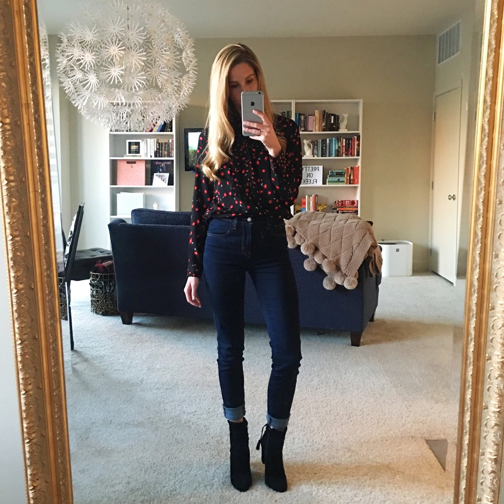 French Connection Top, Levi's Jeans, Steve Madden Booties