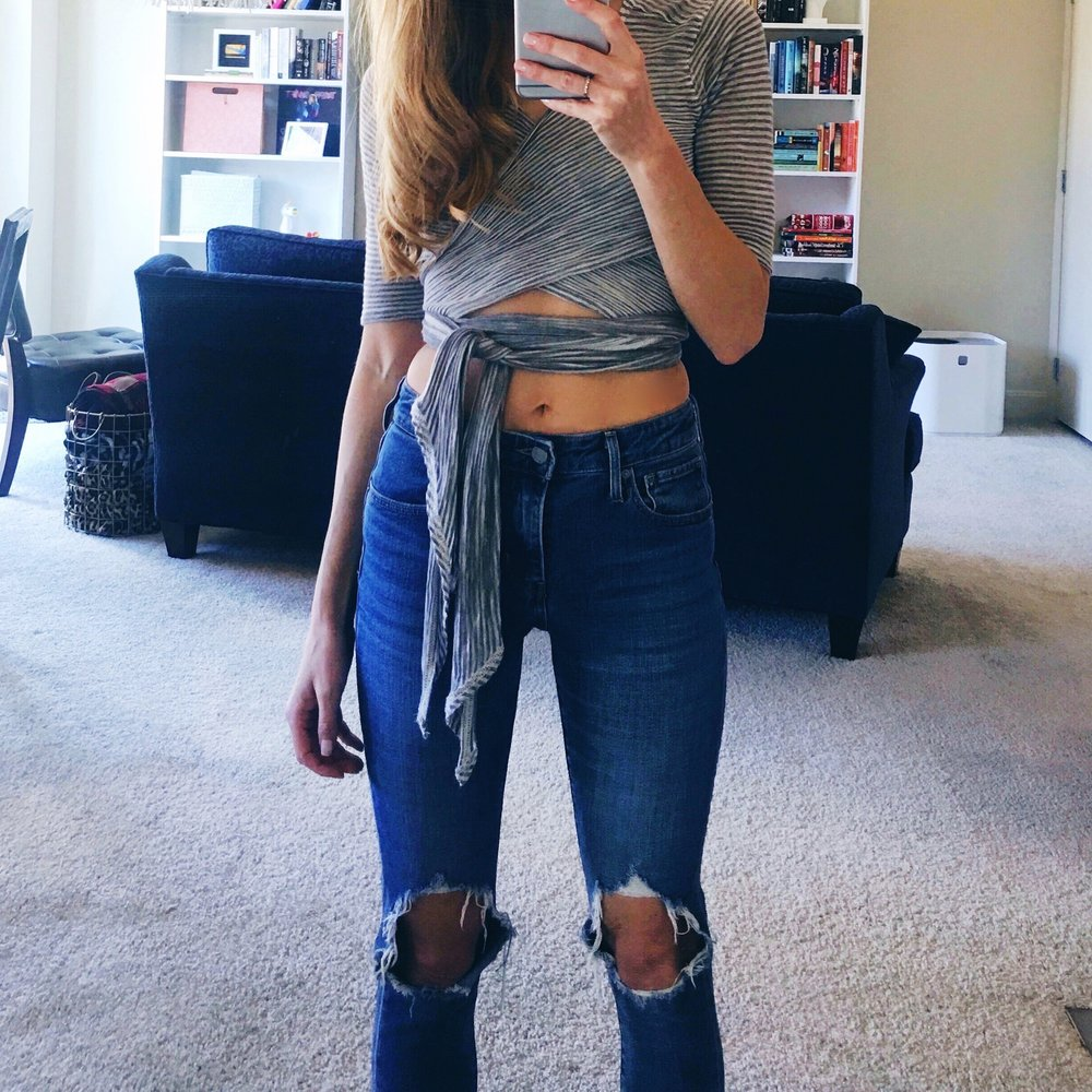 Free People Yoga Top, Levi's Jeans
