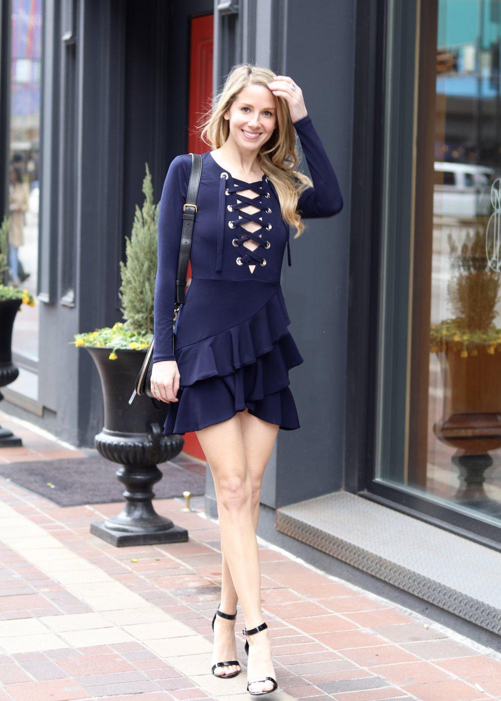 gilt edge | lace up dress