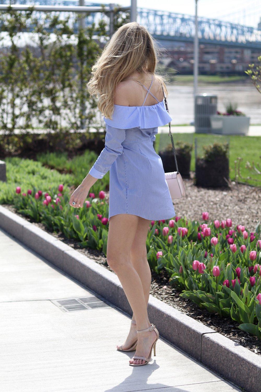 gilt edge   blue & white dresses