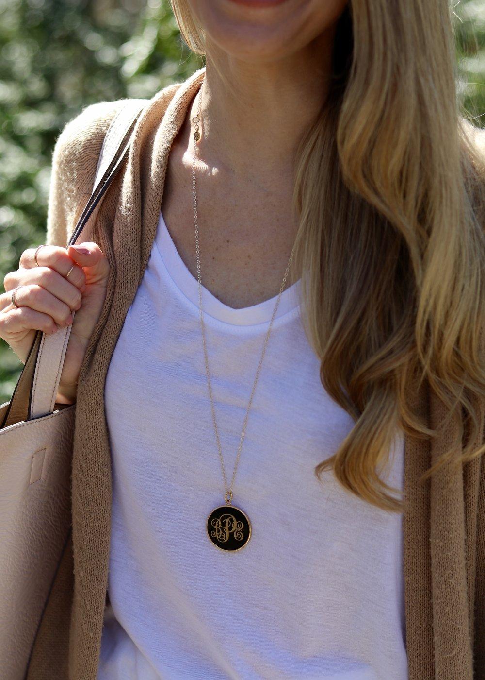 gilt edge   monogram necklace