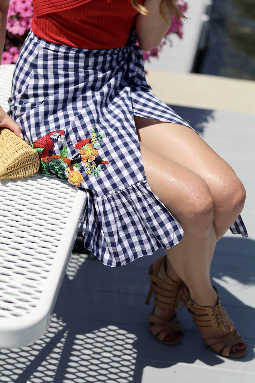 gilt edge   zara checked skirt