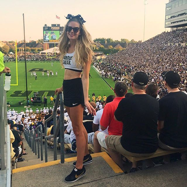Spent the day as my true self 😍 I love this place SO much 💛 #cheerleader #boilerup #purdue 🚂