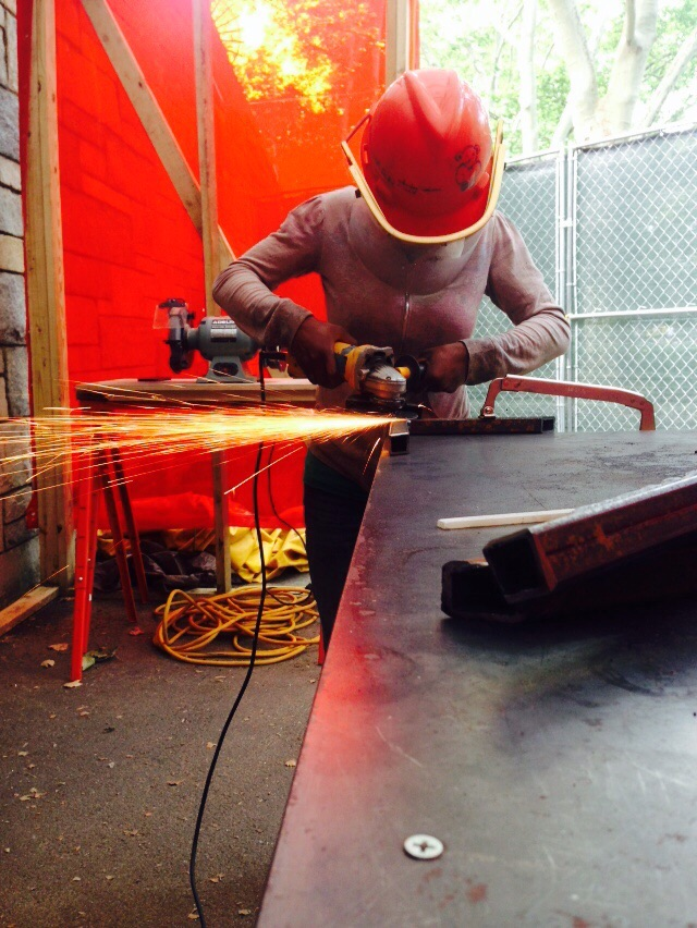 Welding and grinding.