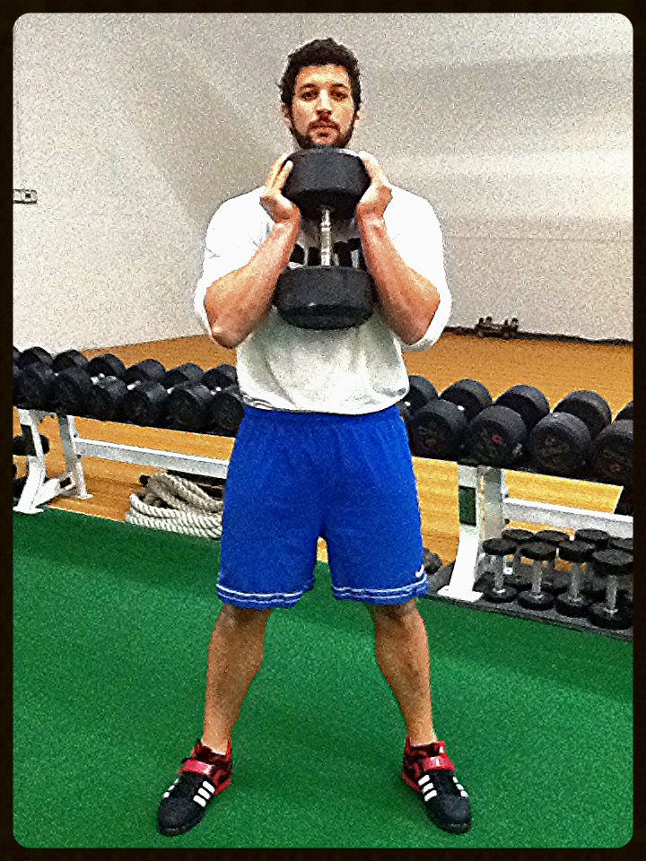 Goblet Squats can be performed with kettlebells or dumbbells.  This is the proper way to hold a dumbbell when performing goblet squats.