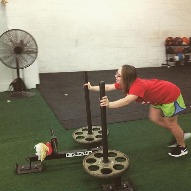 Pushing the big girl plates like her big sister @abbybrocato #saptstrength #prowler #littlesister #strongwoman