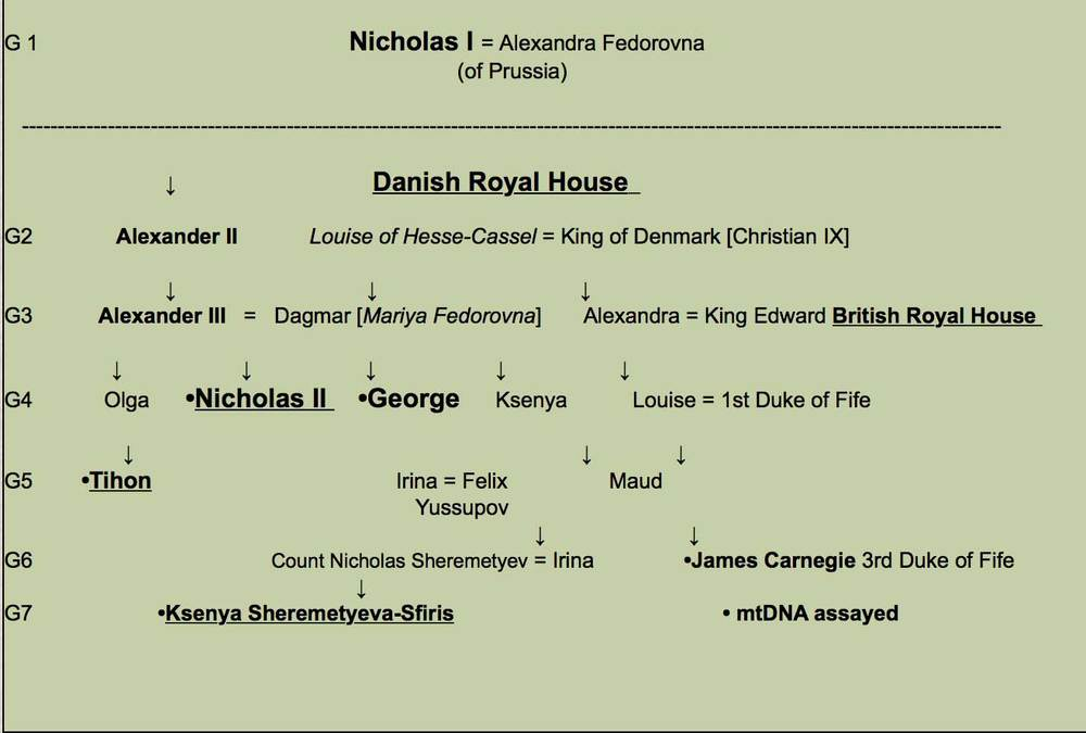 Table 2:    Romanov Familial Relationship