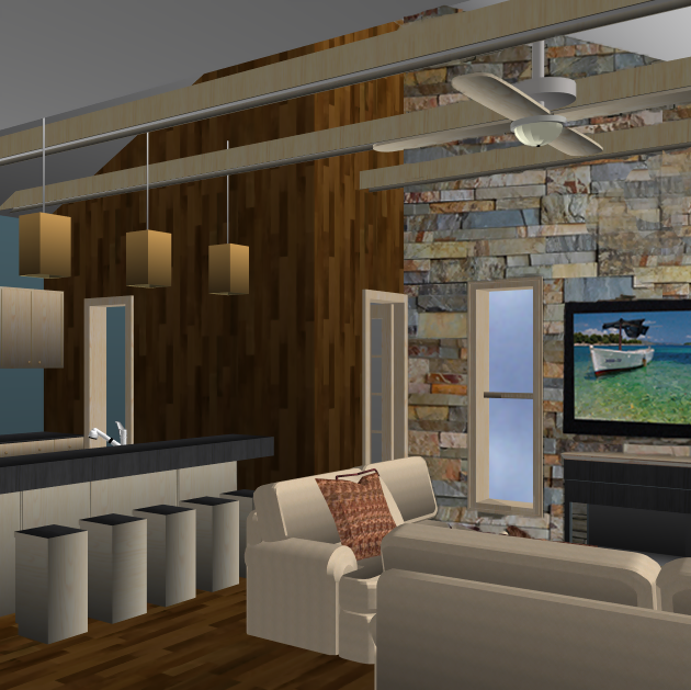 Early in the process, a computer Rendering like this, is a powerful tool we use to help our Clients envision what different interior finish and material decisions will look like.