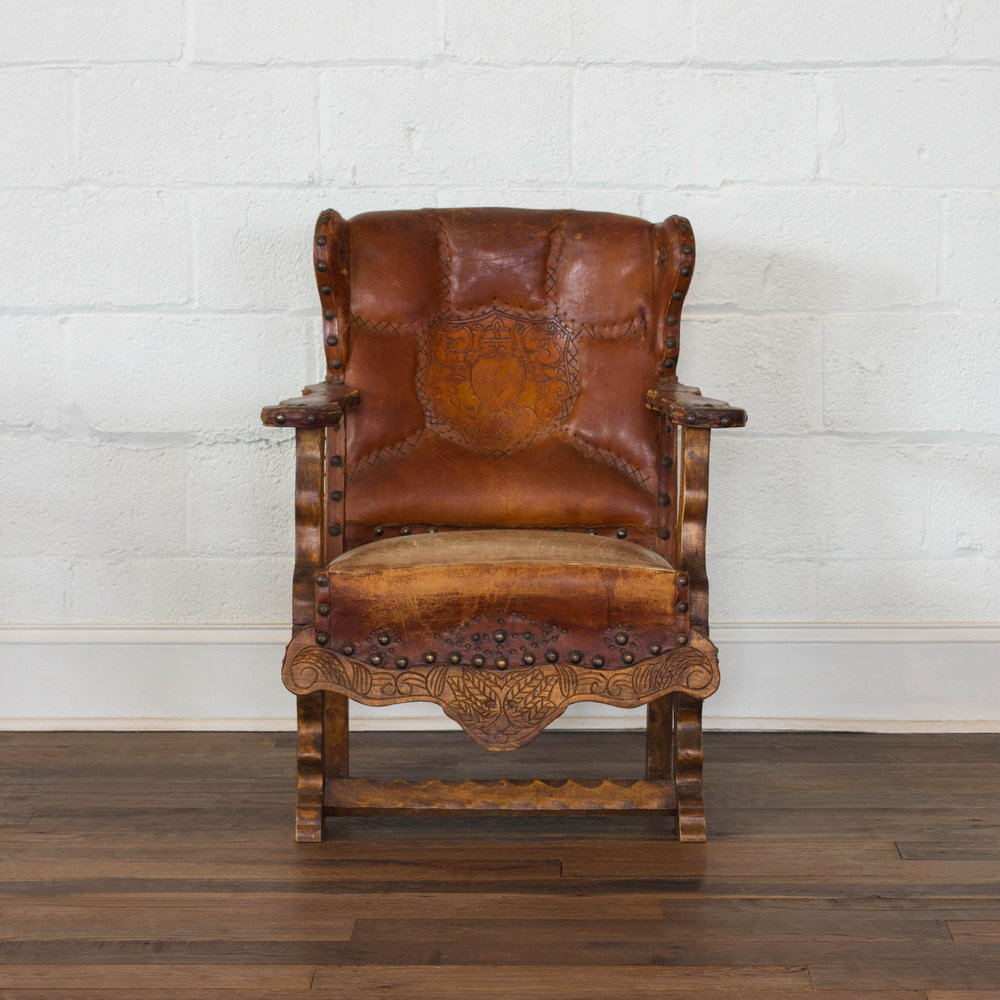 French, 19th Century Embossed Leather Armchair. Antique ...