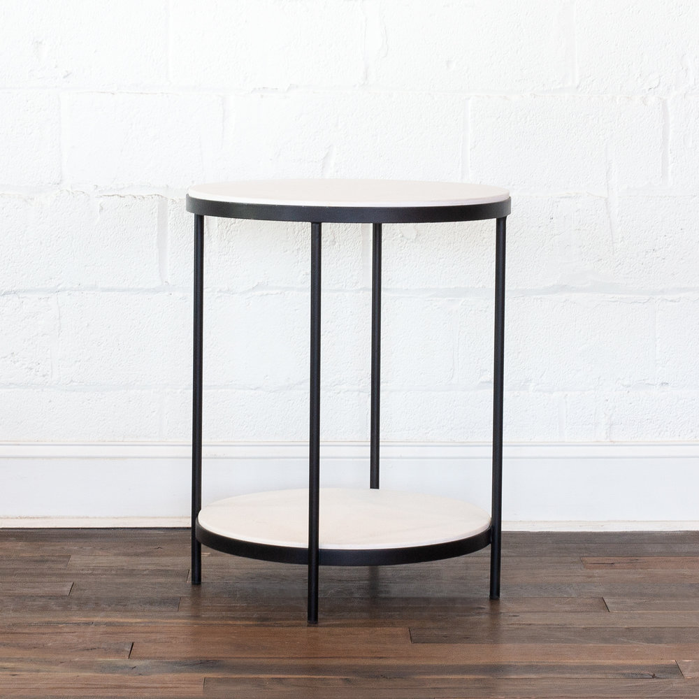 Stone Side Table   White