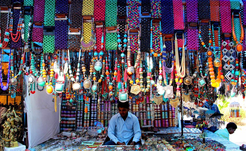 New Delhi: A stall decorated with colourful jewellery at Dilli Haat in New Delhi. LokMarg.com Photo by Rajnish Katyal