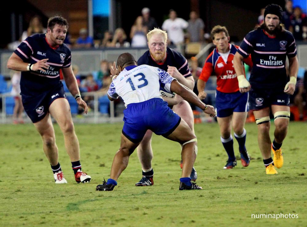 USA Eagles Prop Eric Fry with a crash in Saturday's match vs Samoa. Thanks to Numinaphotos for the pic.