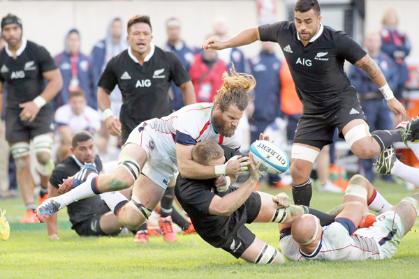 Todd Clever  vs the All Blacks. [Photo by Barry Markowitz]