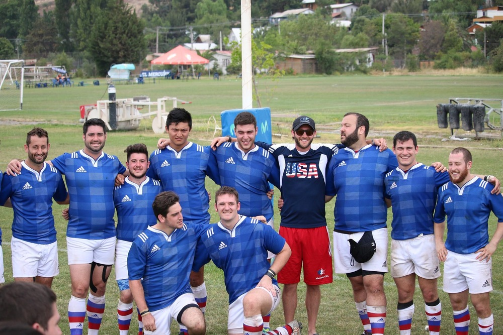 USA Maccabi Rugby team in Chile during the 2015 Maccabi Pan-Am Games. (Keene is center on a knee)