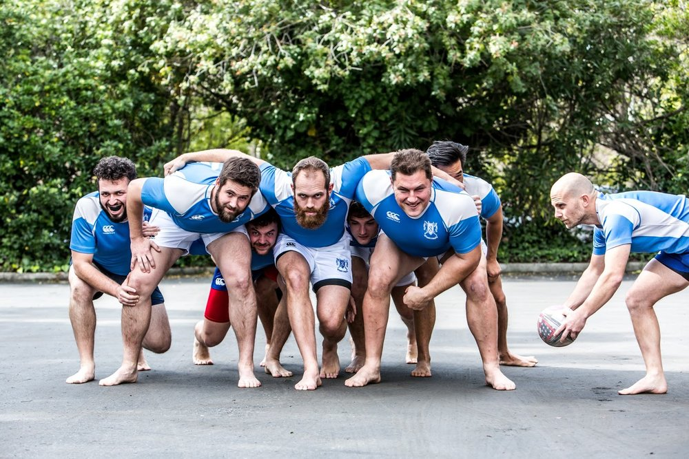 Google Rugby posing for photos for their Google Rugby Calendar. Photo Tri Nguyen (2017)