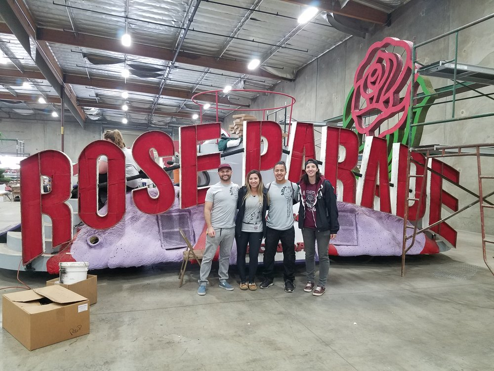 Pasadena RFC assisting with the City of Hope's float for the Rose Parade.