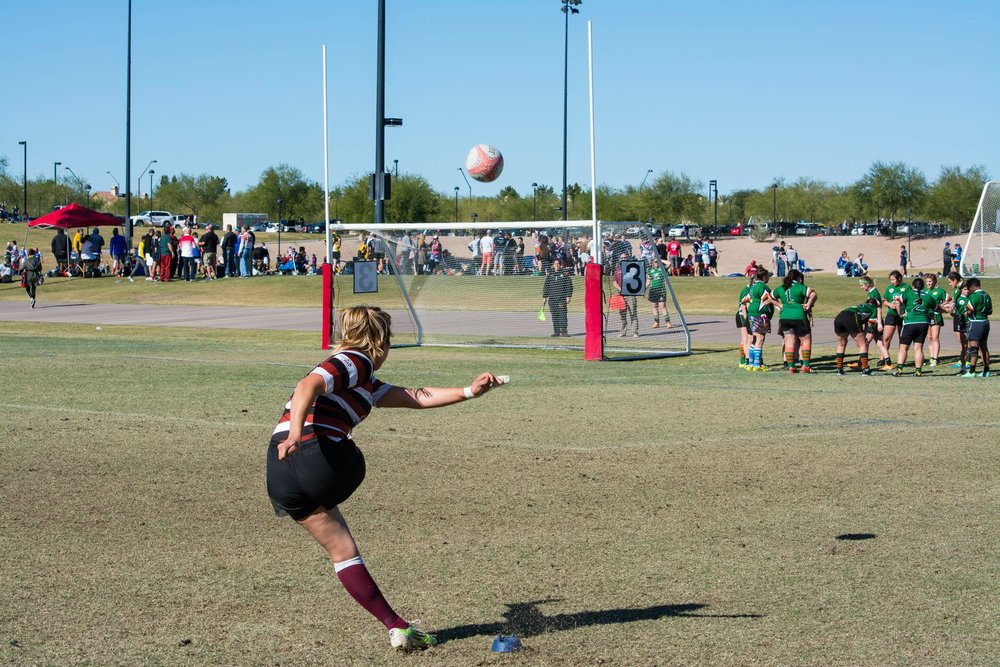 Ashley Gallegos with the kick for Pasadena RFC (2017)