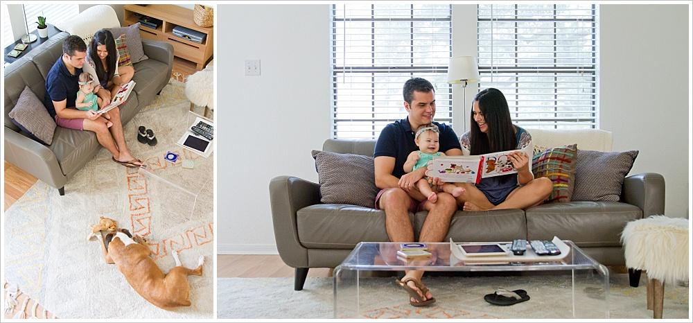 family reading book on their couch | lifestyle family photography in Cedar Park, Texas | Jason & Melaina Photography