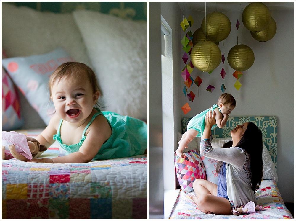 mom and baby play on bed | lifestyle family photography in Cedar Park, Texas | Jason & Melaina Photography