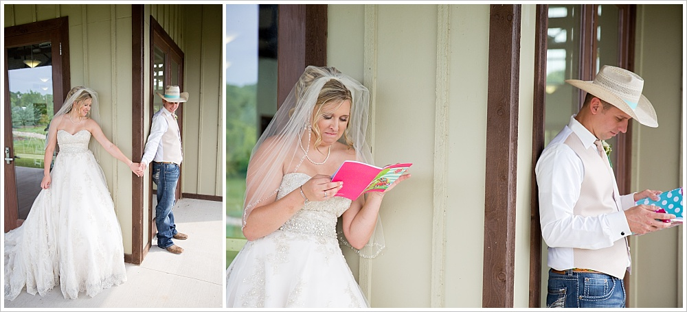 bride and groom reading letters to each other | Carleen Bright Arboretum wedding venue in Woodway, TX | Jason & Melaina Photography