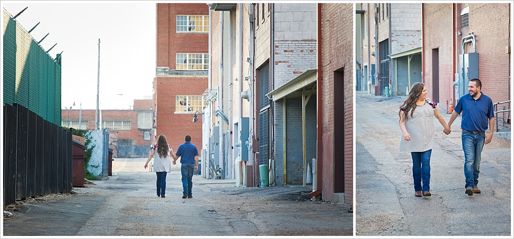 couple walks hand in hand | alley in downtown Waco, Texas | Jason & Melaina Photography