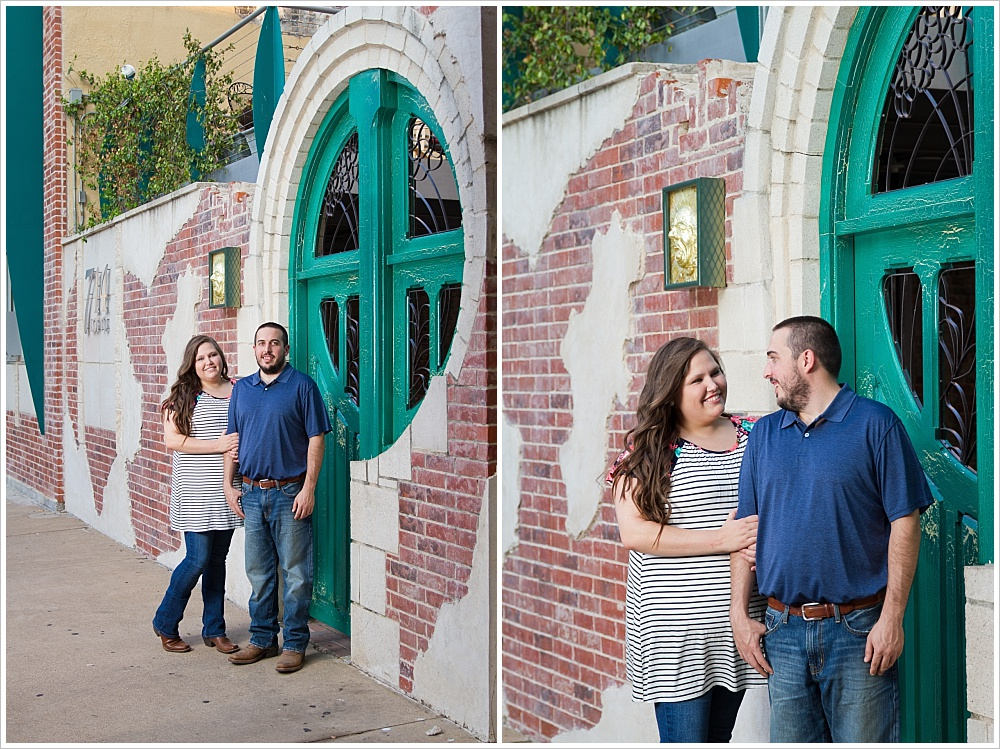 couple poses at green door | Austin Ave in downtown Waco, Texas | Jason & Melaina Photography