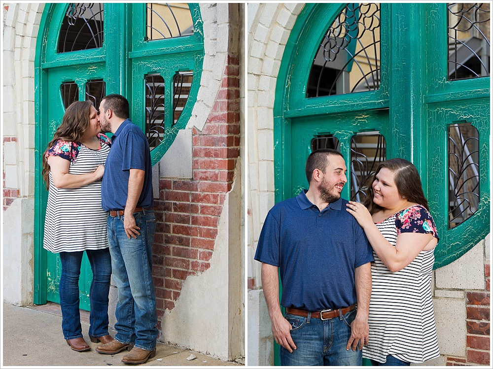 couple kisses and shows off engagement ring | Austin Ave in downtown Waco, Texas | Jason & Melaina Photography