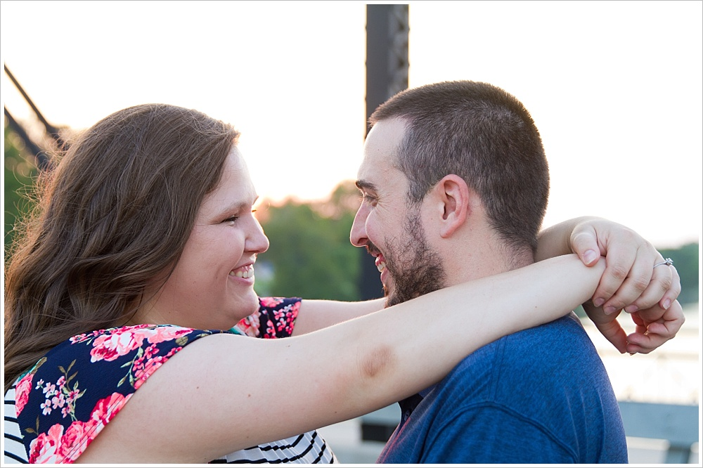 couple looks into each other's eyes | downtown Waco, Texas | Jason & Melaina Photography