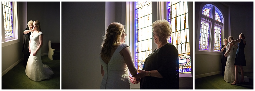 bride's mother and sister helping her get ready | Calvary Baptist Church, Waco, TX | Jason & Melaina Photography