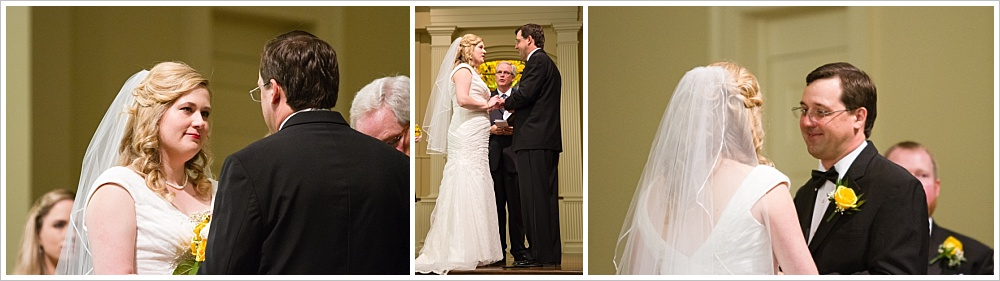 bride and groom look at each other during ceremony| Calvary Baptist Church, Waco, TX | Jason & Melaina Photography