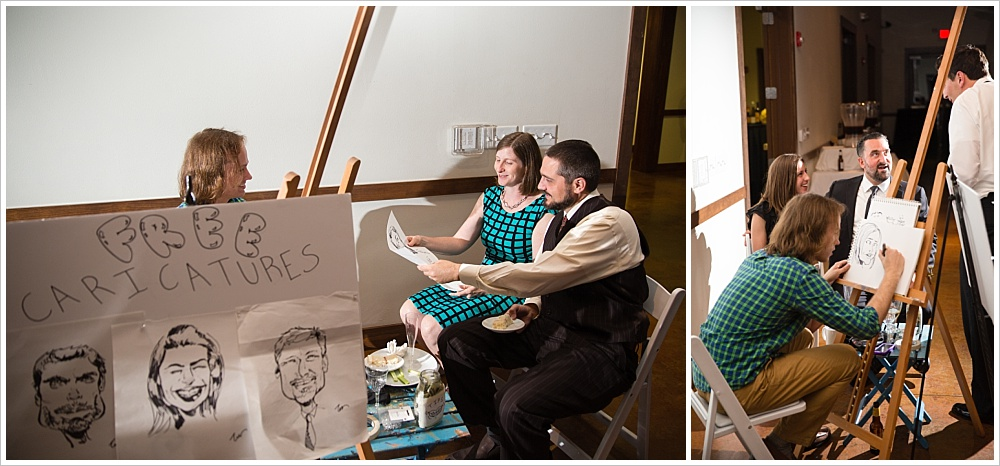 caricature artist at reception | Carleen Bright Arboretum, Woodway, Texas | Jason & Melaina Photography