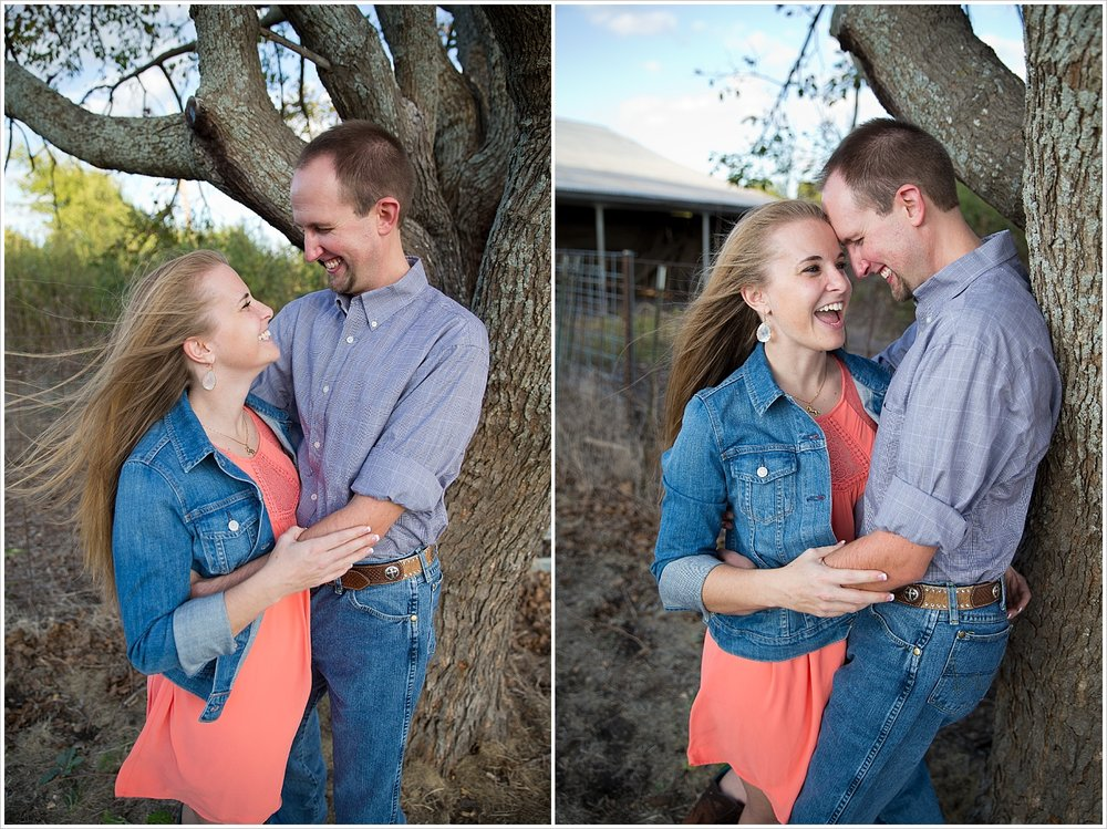 a couple hugs in front of a tree | West, Texas Engagement Portraits | Jason & Melaina Photography