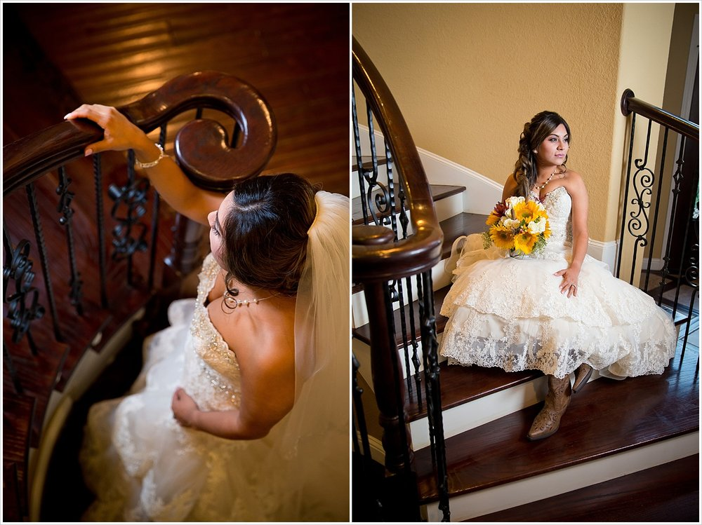 bride poses on staircase | Vera Estates in China Springs, Texas | Jason & Melaina Photography