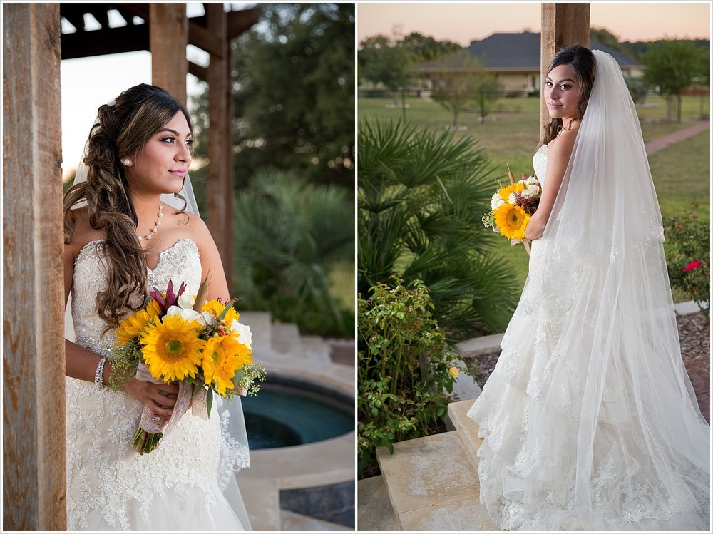 bride posing with yellow sunflower bouquet | Vera Estates in China Springs, Texas | Jason & Melaina Photography