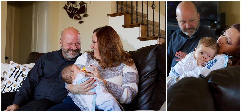 Mom, dad and baby snuggle on the couch | Lifestyle Family Session in Waco, Texas | Jason & Melaina Photography