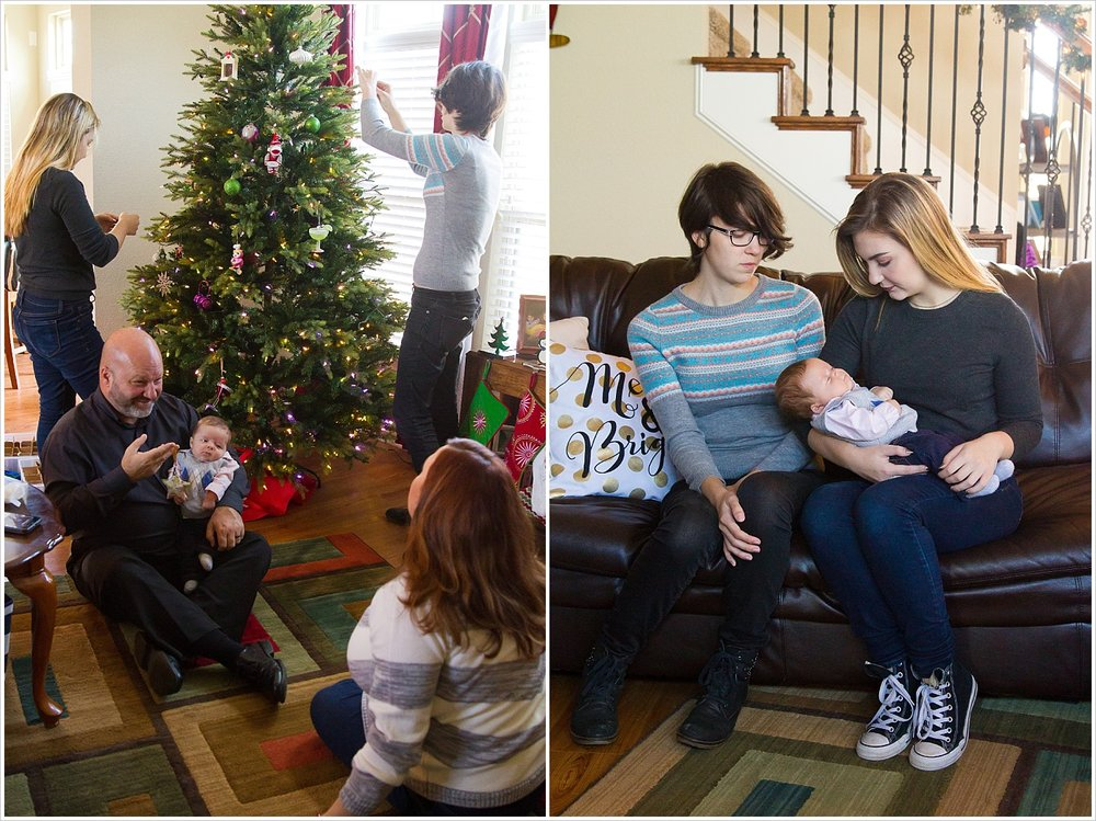 Family decorates Christmas tree | Lifestyle Family Session in Waco, Texas | Jason & Melaina Photography