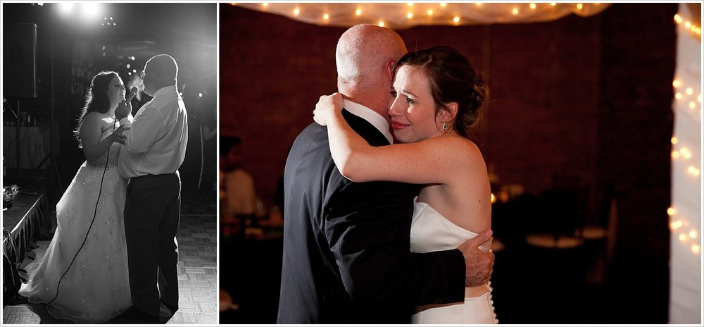 Groom sings to bride, emotional father-daughter dance, wedding photography in Waco Texas and Horseshoe Bay