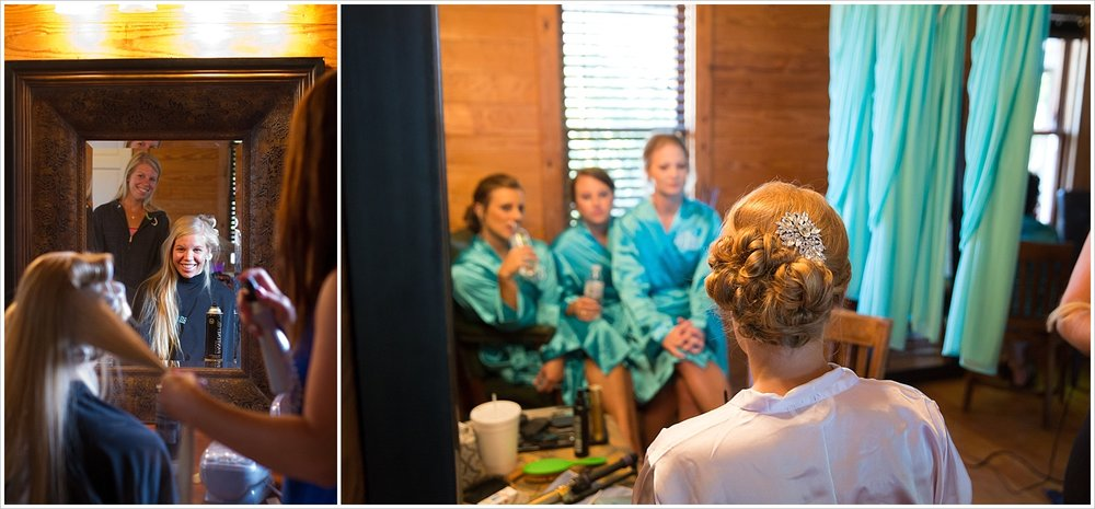 Waco Texas bride has hair styled on wedding day while bridesmaids look on