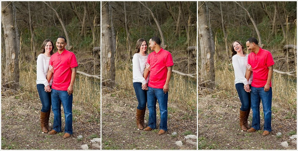 Couple embraces and laughs beside creek in Belton, Texas