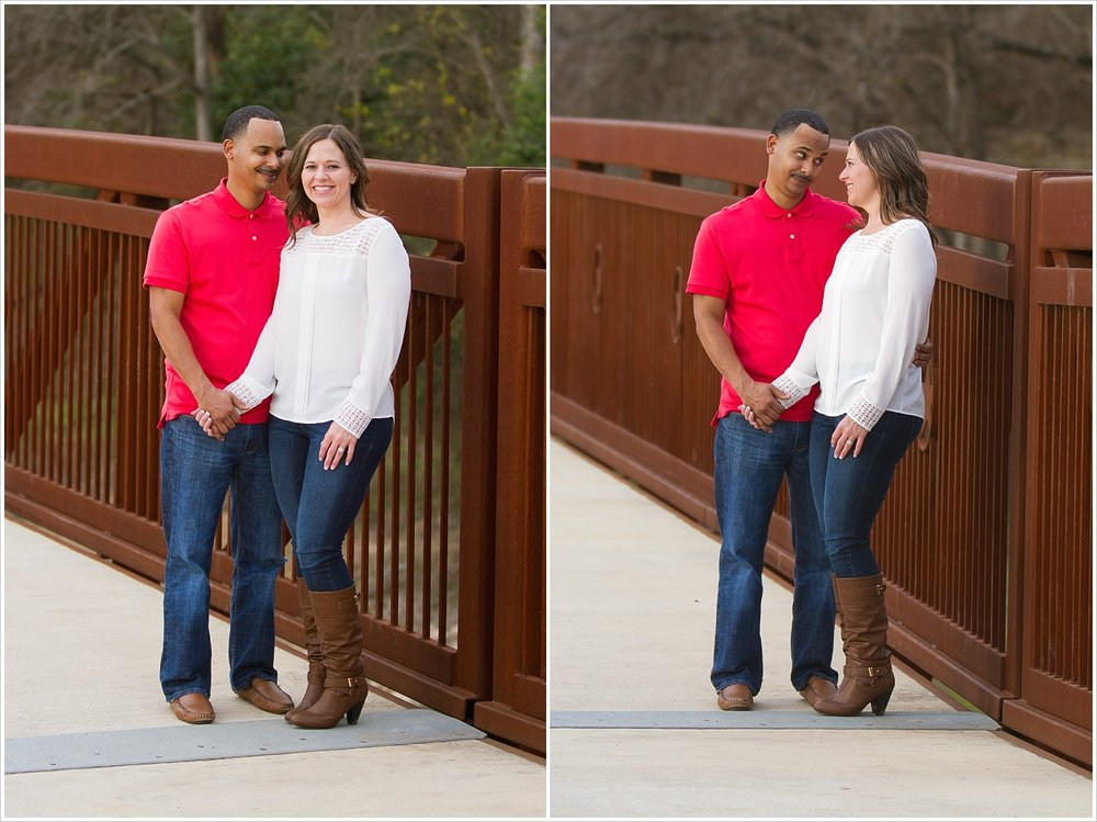 Couple portraits on bridge in Belton, Texas