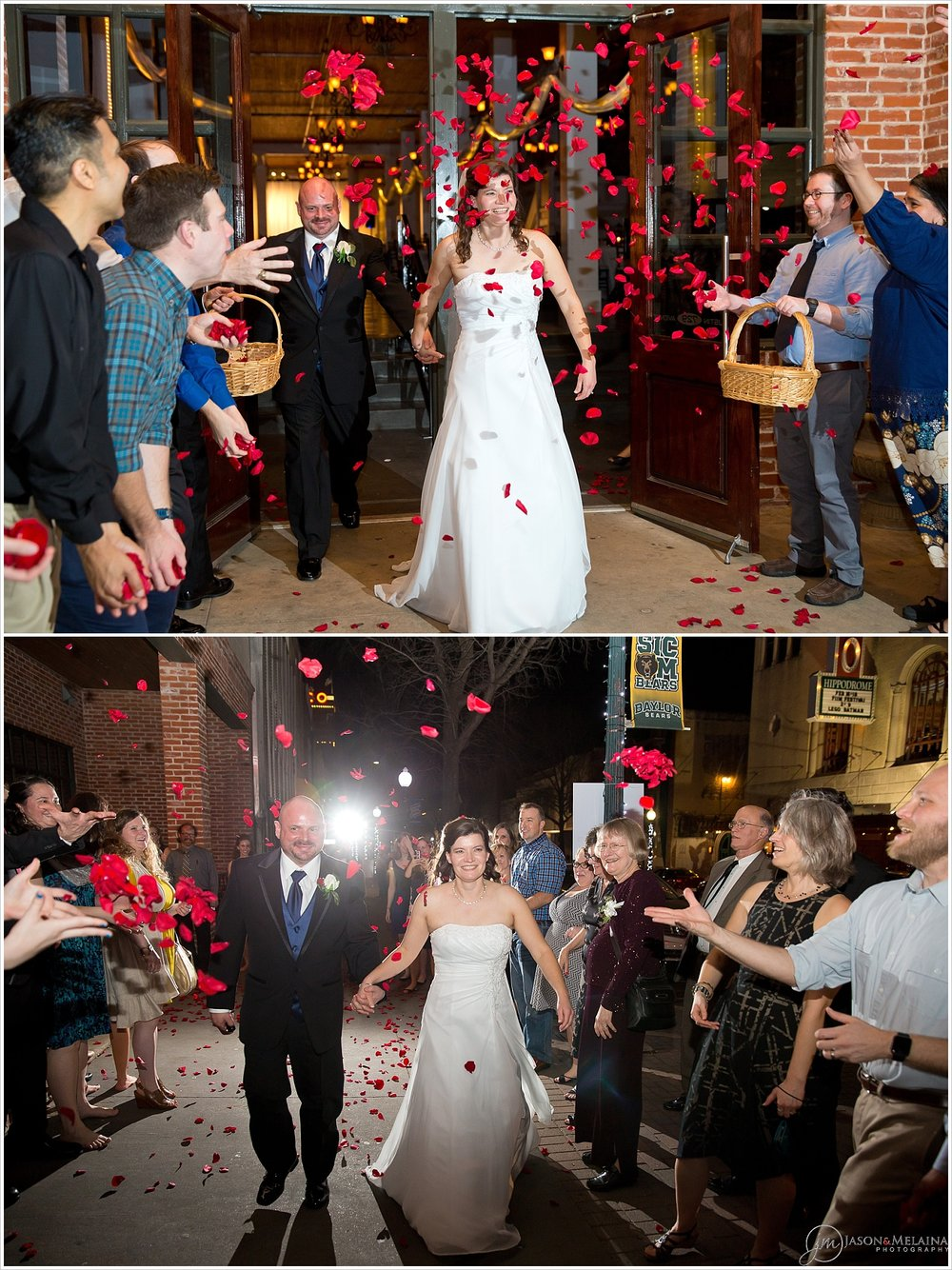 Bride and groom exit under rose petals, The Palladium, Waco, Texas